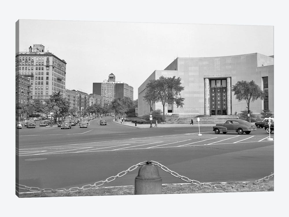 1950s Brooklyn Public Library Borough NYC As Seen From The Grand Army Plaza Looking To Eastern Parkway by Vintage Images 1-piece Canvas Print
