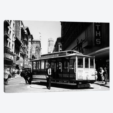 1950s Cable Car Turning Around At End Of Line San Francisco California USA Canvas Print #VTG280} by Vintage Images Canvas Wall Art