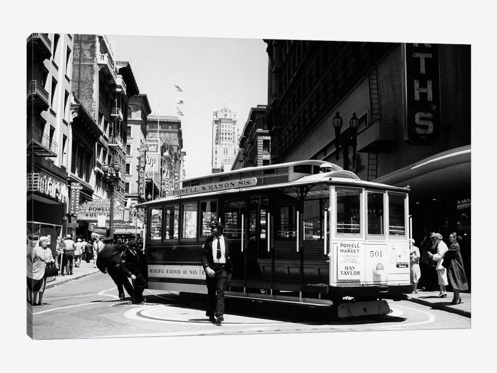 1950s Cable Car Turning Around At End Of Line San Francisco California USA by Vintage Images 1-piece Canvas Art Print