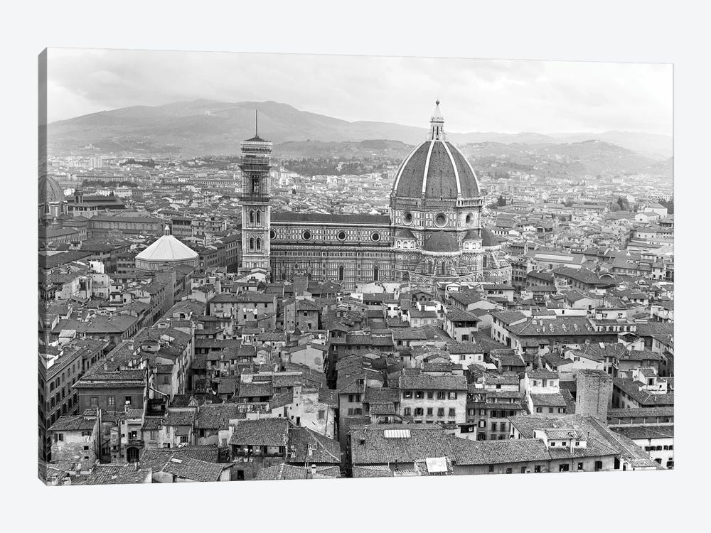 1950s Cathedral Santa Maria Del Fiore And Giotto's Bell Tower Florence Italy by Vintage Images 1-piece Canvas Artwork