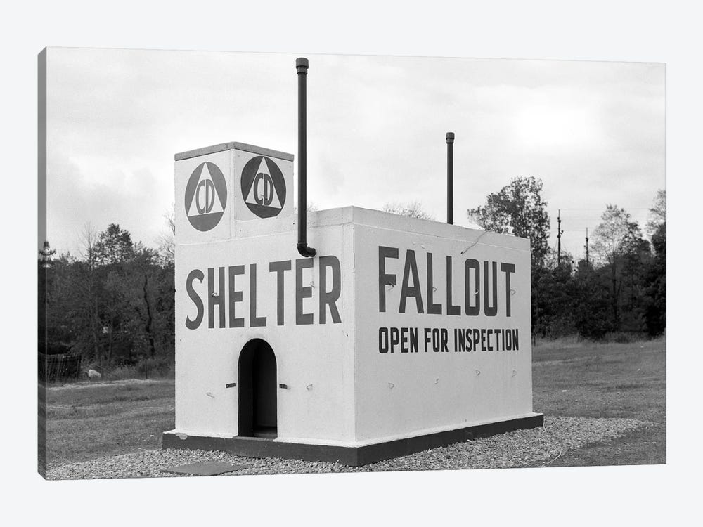 1950s Civil Defense Fallout Shelter Sample Open For Inspection by Vintage Images 1-piece Art Print