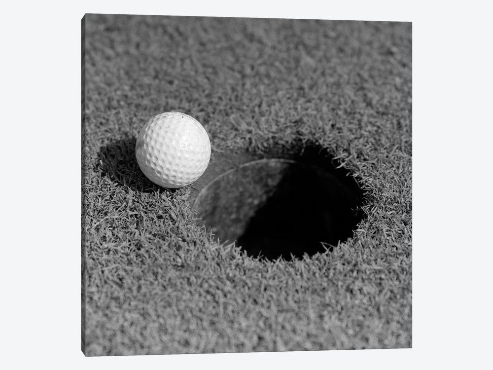 1950s Close-Up Of Golf Ball On Green On Very Edge Of Cup by Vintage Images 1-piece Canvas Art