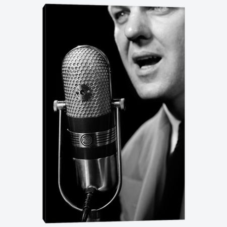 1950s Close-Up Of Man Announcer Talking Into Microphone Newscaster Indoor Symbolic Freedom Of Speech Canvas Print #VTG284} by Vintage Images Canvas Art Print