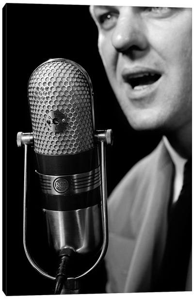 1950s Close-Up Of Man Announcer Talking Into Microphone Newscaster Indoor Symbolic Freedom Of Speech Canvas Art Print