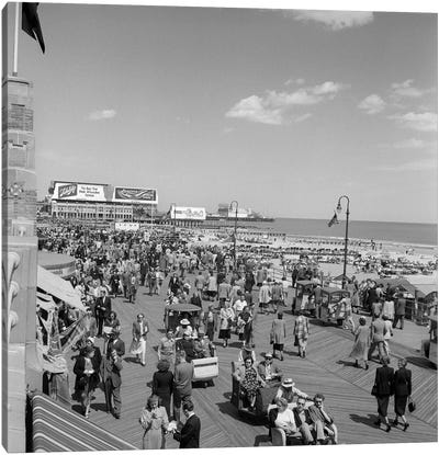 1950s Crowd People Men Women Children Boardwalk Atlantic City NJ USA Canvas Art Print