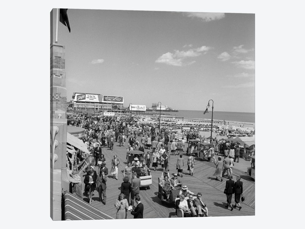 1950s Crowd People Men Women Children Boardwalk Atlantic City NJ USA by Vintage Images 1-piece Canvas Print
