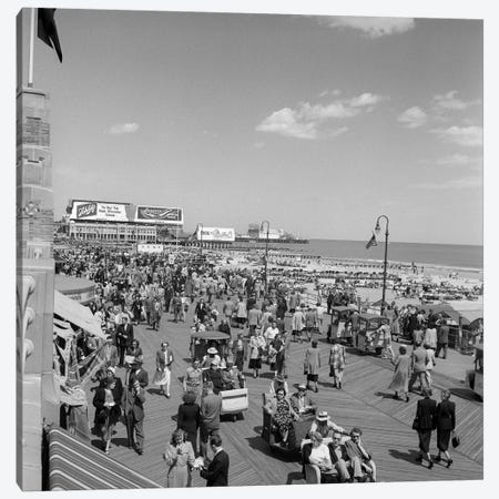 1950s Crowd People Men Women Children Boardwalk Atlantic City NJ USA Canvas Print #VTG286} by Vintage Images Canvas Art Print