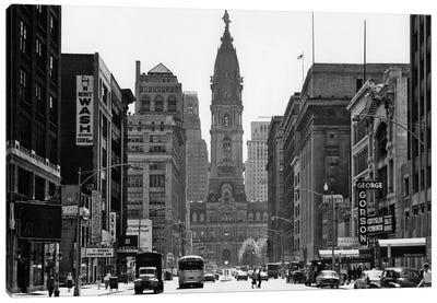 1950s Downtown Philadelphia PA USA Looking South Down North Broad Street At City Hall Canvas Art Print