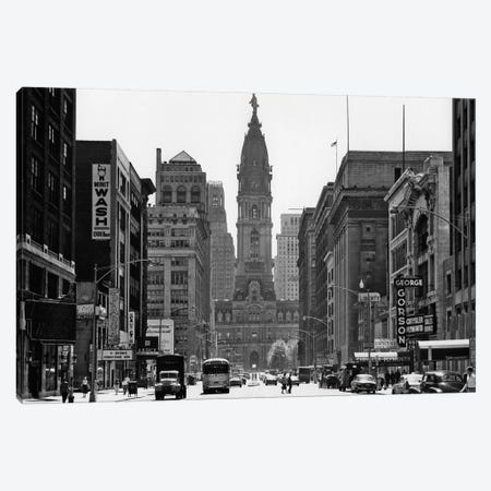1950s Downtown Philadelphia PA USA Looking South Down North Broad Street At City Hall Canvas Print #VTG287} by Vintage Images Art Print