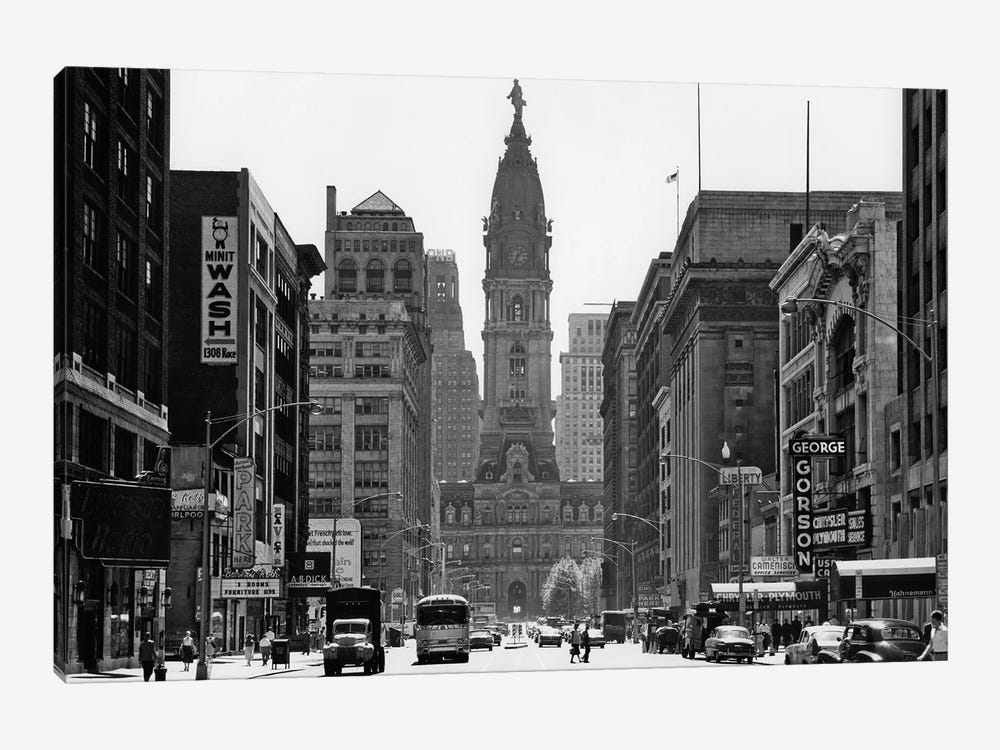 1950s Downtown Philadelphia PA USA Looking South Down North Broad Street At City Hall by Vintage Images 1-piece Canvas Art