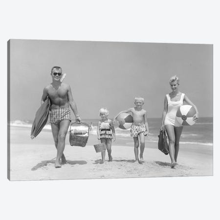 1950s Family Of Four Walking Towards Camera With Beach Balls Umbrella Picnic Basket And Sand Bucket Canvas Print #VTG289} by Vintage Images Canvas Wall Art