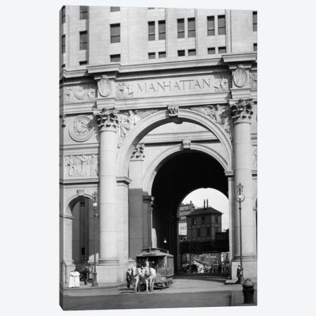 1916 One Of The Last Horse Drawn Trolleys Coming Through Arch Of The Municipal Building Lower Manhattan New York City USA Canvas Print #VTG28} by Vintage Images Canvas Wall Art