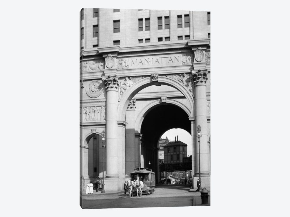 1916 One Of The Last Horse Drawn Trolleys Coming Through Arch Of The Municipal Building Lower Manhattan New York City USA by Vintage Images 1-piece Canvas Artwork