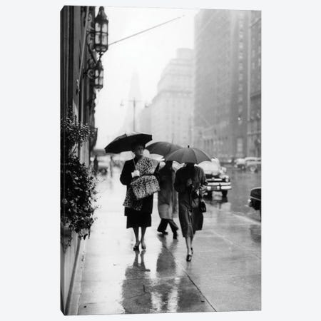 1950s Fashionable Woman Wearing Leopard Skin Muff And Stole Walking Down Rainy City Street Canvas Print #VTG290} by Vintage Images Canvas Print