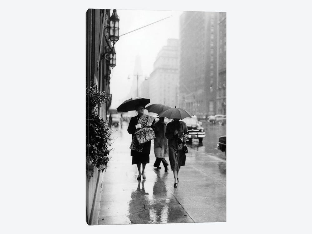 1950s Fashionable Woman Wearing Leopard Skin Muff And Stole Walking Down Rainy City Street by Vintage Images 1-piece Canvas Art