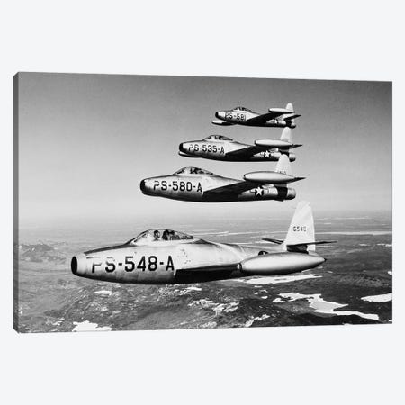 1950s Four Us Air Force F-84 Thunderjet Fighter Bomber Airplanes In Flight Formation Canvas Print #VTG291} by Vintage Images Art Print