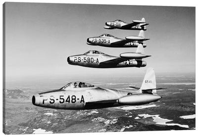 1950s Four Us Air Force F-84 Thunderjet Fighter Bomber Airplanes In Flight Formation Canvas Art Print