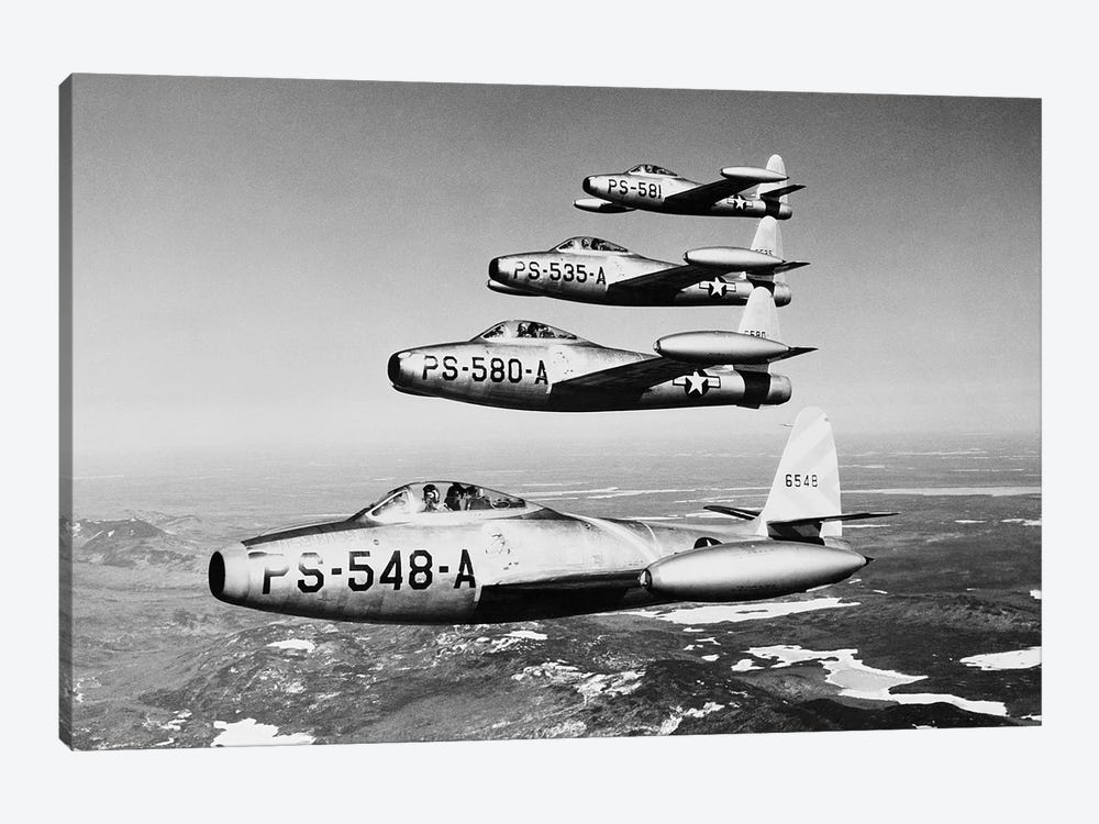 1950s Four Us Air Force F-84 Thunderjet Fighter Bomber Airplanes In Flight Formation by Vintage Images 1-piece Canvas Art Print