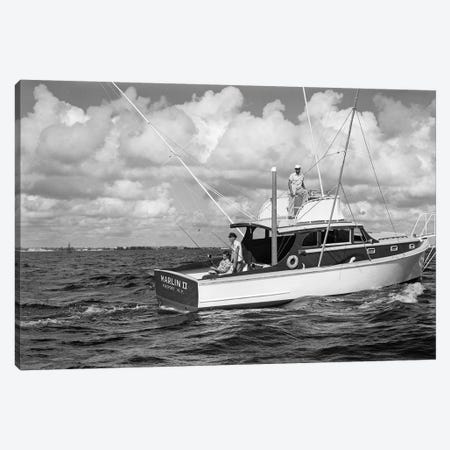 1950s Group Of 3 Men Trolling Off Of Fishing Boat In Gulf Stream Canvas Print #VTG293} by Vintage Images Canvas Art Print