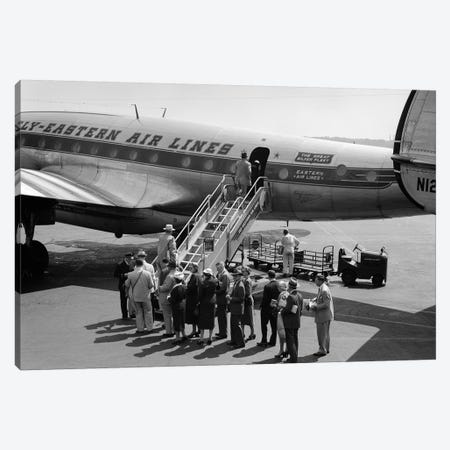 1950s Group Of Passengers Boarding Commercial Propeller Airplane Washington Dc Canvas Print #VTG294} by Vintage Images Canvas Artwork