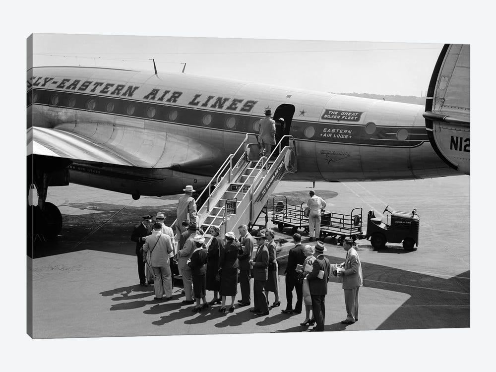 1950s Group Of Passengers Boarding Commercial Propeller Airplane Washington Dc by Vintage Images 1-piece Canvas Art