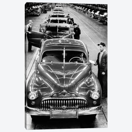 1950s Head-On View Buick Automobile Assembly Line Detroit Michigan USA Canvas Print #VTG296} by Vintage Images Canvas Wall Art
