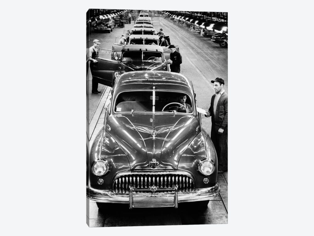 1950s Head-On View Buick Automobile Assembly Line Detroit Michigan USA by Vintage Images 1-piece Canvas Art
