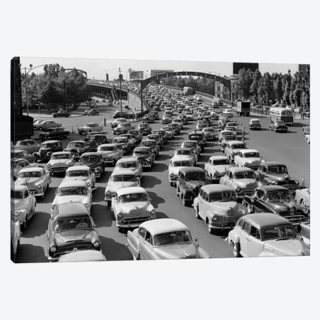 1950s Heavy Traffic Coming Off Of The Ben Franklin Bridge Driving From Camden NJ Into Philadelphia PA USA Canvas Print #VTG297} by Vintage Images Canvas Artwork