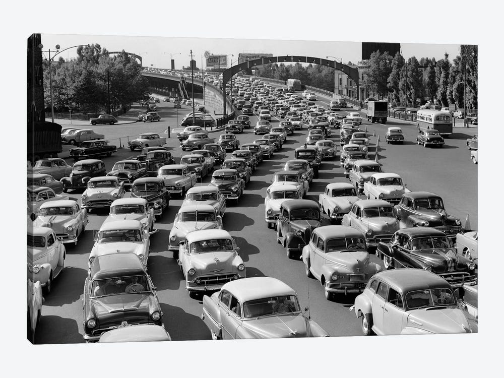 1950s Heavy Traffic Coming Off Of The Ben Franklin Bridge Driving From Camden NJ Into Philadelphia PA USA by Vintage Images 1-piece Art Print