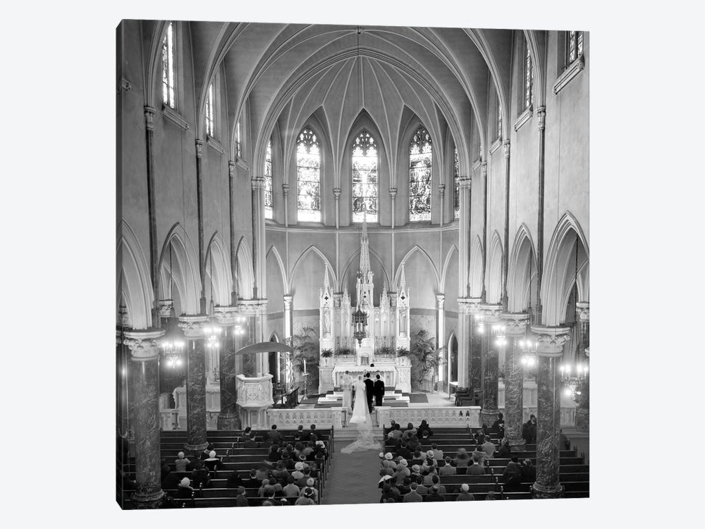 1950s High Angle View Of Wedding Ceremony In Saint Patrick's Cathedral New York City by Vintage Images 1-piece Canvas Artwork