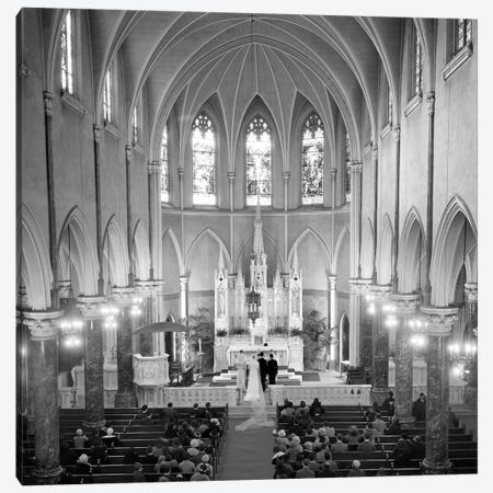 1950s High Angle View Of Wedding Ceremony In Saint Patrick's Cathedral New York City Canvas Print #VTG298} by Vintage Images Art Print