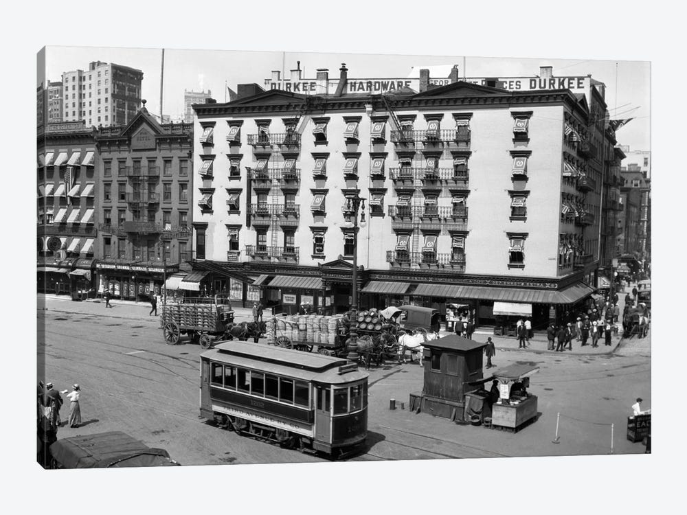 1916 The Eastern Hotel With An Edison Street Car At South Ferry Lower Manhattan New York City USA by Vintage Images 1-piece Art Print
