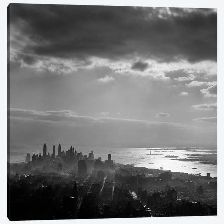 1950s Late Afternoon Light Throws Downtown Manhattan Into Silhouette Sun Reflecting On Bay & Hudson River Canvas Print #VTG300} by Vintage Images Art Print