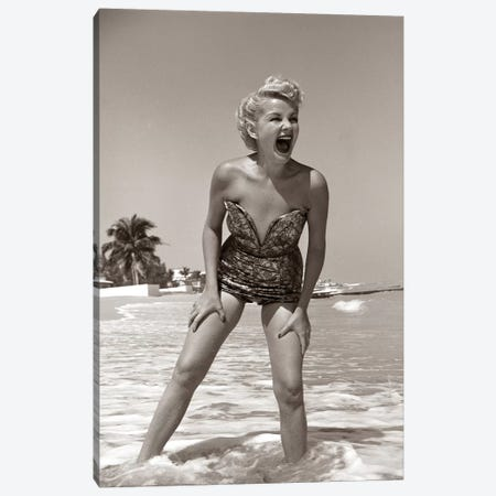 1950s Laughing Blonde Woman In Strapless Low Cut Bathing Suit Swim Wear Wading Up To Ankles In Surf Canvas Print #VTG301} by Vintage Images Canvas Print
