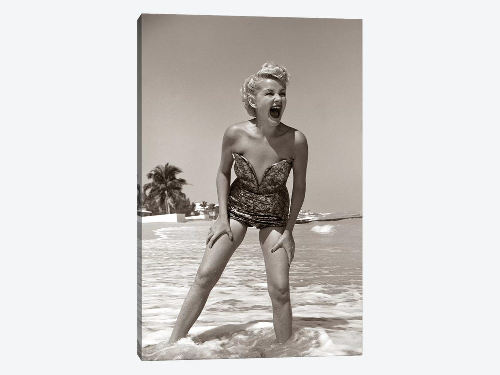 1950s Laughing Blonde Woman In Strapless Low Cut Bathing Suit Swim Wear Wading Up To Ankles In Surf by Vintage Images 1-piece Canvas Print