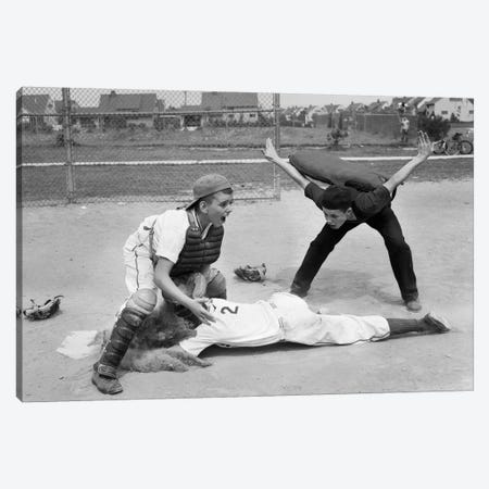 1950s Little League Umpire Calling Baseball Player Safe Sliding Into Home Plate Canvas Print #VTG305} by Vintage Images Canvas Art