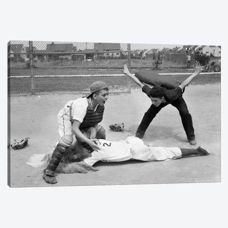 1950s Little League Umpire Calling Baseball Player Safe Sliding Into Home Plate Canvas Print #VTG305} by Vintage Images Canvas Art