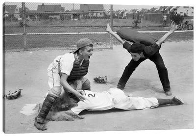 1950s Little League Umpire Calling Baseball Player Safe Sliding Into Home Plate Canvas Art Print
