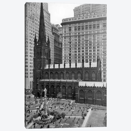 1950s Looking Down On Trinity Church Yard And Cemetery Downtown Manhattan New York City Near Wall Street NYC NY USA Canvas Print #VTG306} by Vintage Images Canvas Artwork
