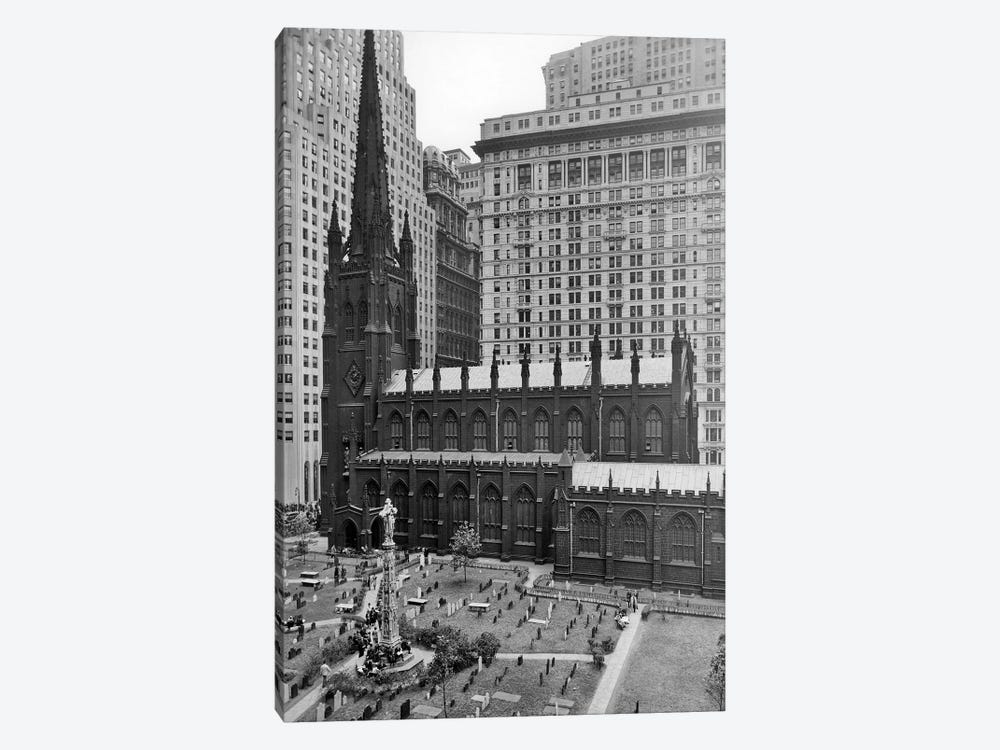1950s Looking Down On Trinity Church Yard And Cemetery Downtown Manhattan New York City Near Wall Street NYC NY USA by Vintage Images 1-piece Canvas Artwork