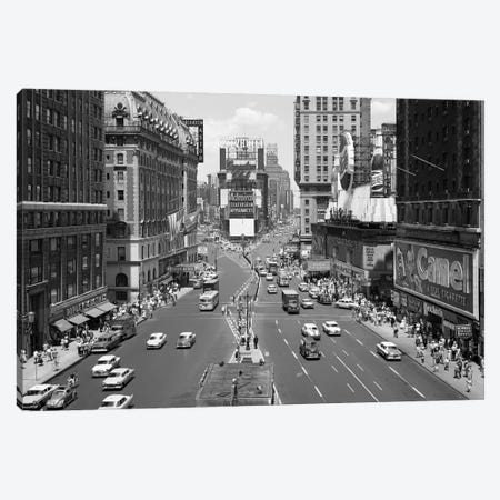 1950s Looking North At Times Square From The Times Building Manhattan NYC USA Canvas Print #VTG307} by Vintage Images Canvas Artwork