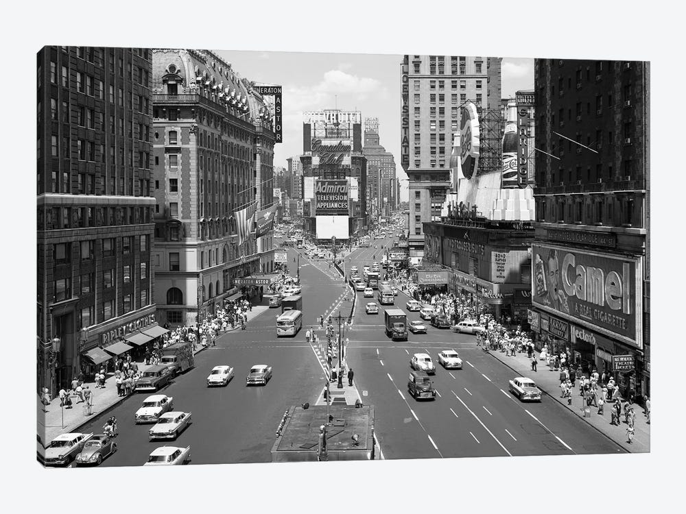 1950s Looking North At Times Square From The Times Building Manhattan NYC USA by Vintage Images 1-piece Canvas Print