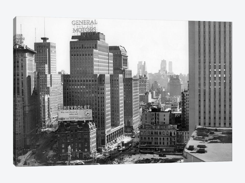 1950s Looking South At 61St Street Coliseum Tower Columbus Circle Excavation For New Building Bottom Center New York City NY USA by Vintage Images 1-piece Canvas Art Print