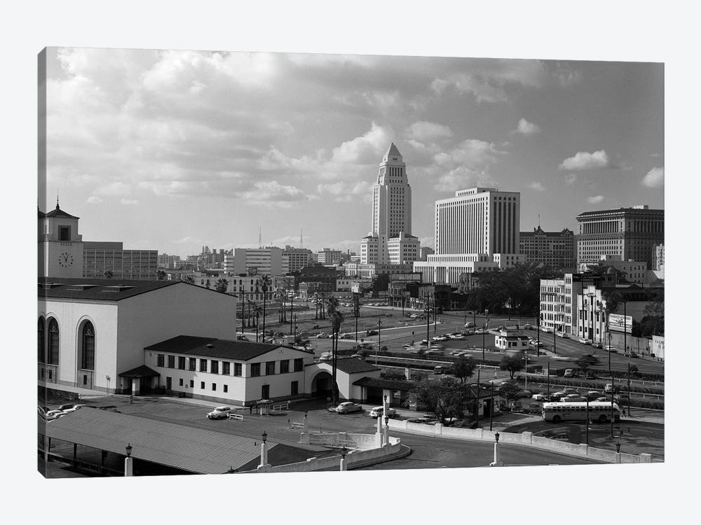 1950s Los Angeles Civic Center With Union Station In Foreground California USA by Vintage Images 1-piece Canvas Print