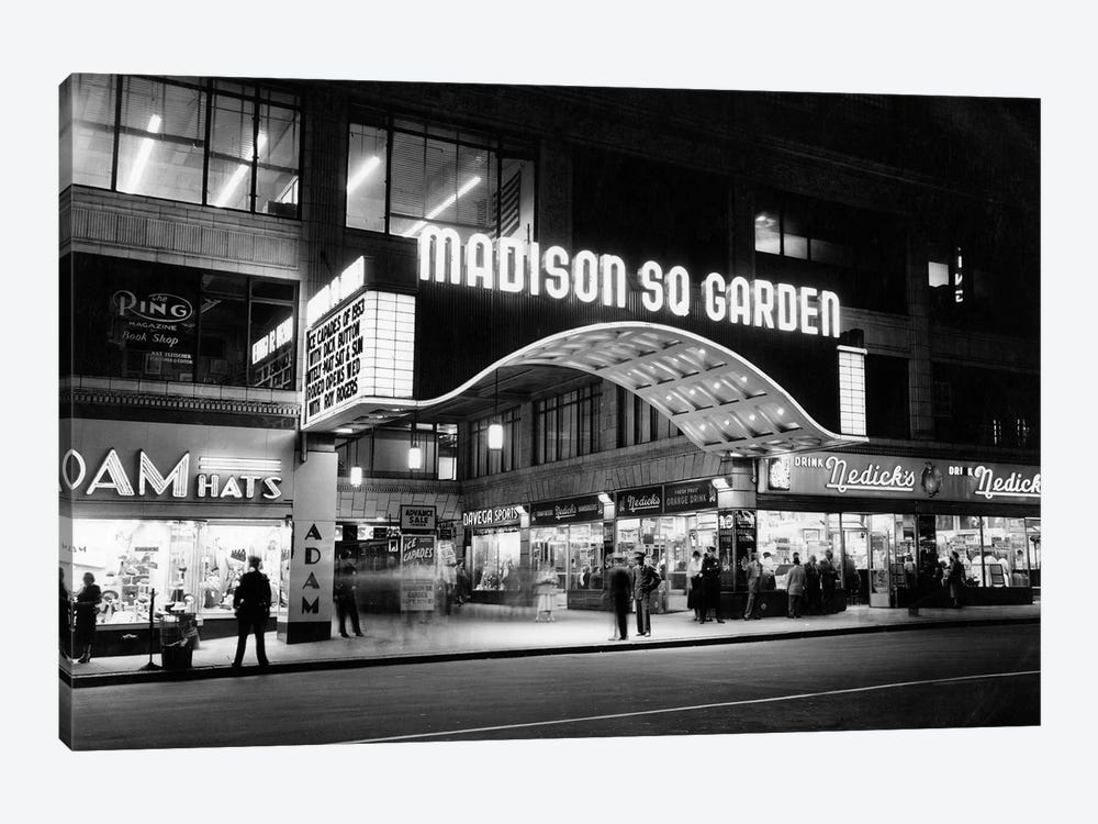 1950s Madison Square Garden Marquee Night West 49th Street Billing Ice Capades Of 1953 Building Demolished 1968 NYC NY USA by Vintage Images 1-piece Canvas Wall Art