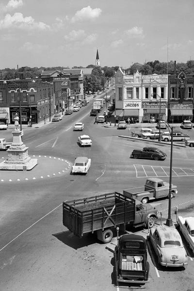 1950s Main Street Of Small Town America Town Vintage