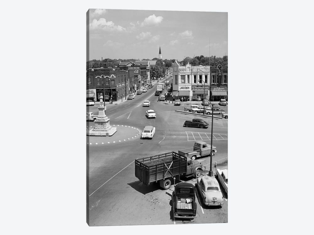 1950s Main Street Of Small Town America Town Square Lebanon Tennessee USA by Vintage Images 1-piece Canvas Print