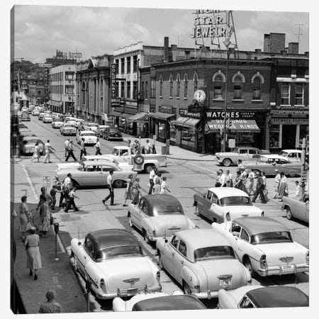 1950s Main Street Small Town America Intersection Of Chicago And Cass Streets Joliet Illinois USA Canvas Print #VTG313} by Vintage Images Canvas Artwork