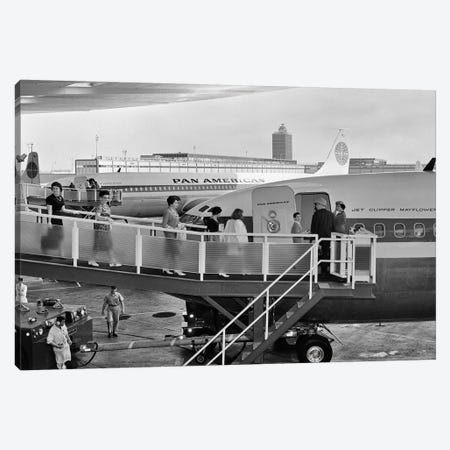 1950s Men And Women Walking Down Ramp Boarding Commercial Jet Airliner Idlewild Airport New York City USA Canvas Print #VTG314} by Vintage Images Art Print