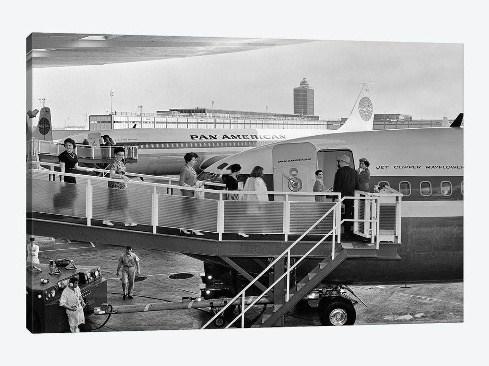 1950s Men And Women Walking Down Ramp Boarding Commercial Jet Airliner Idlewild Airport New York City USA by Vintage Images 1-piece Art Print